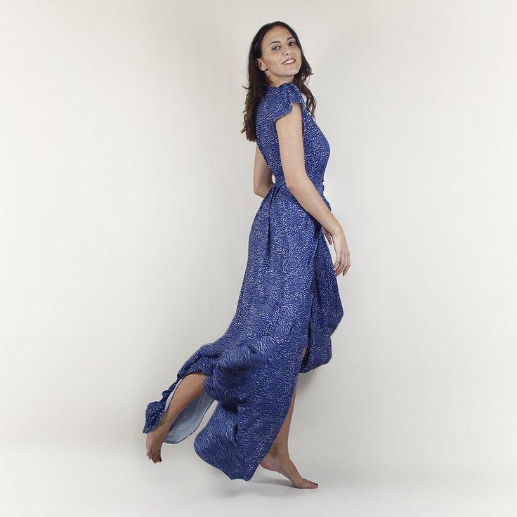 Elisa wrap maxi dress blue