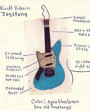 "Kurt Cobain's sketch for this Custom Fender ""Jagstang"""
