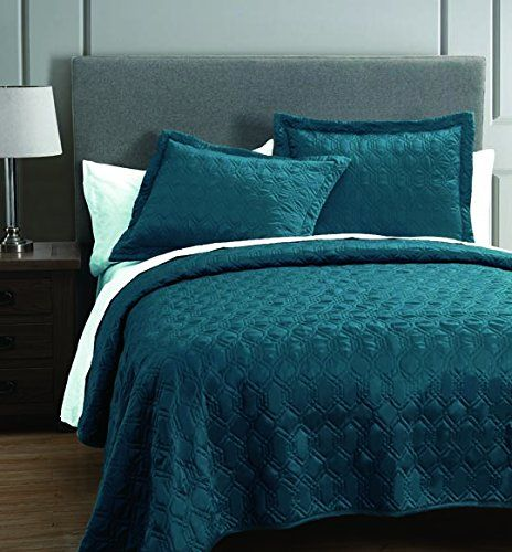 Rogen Teal 3 Piece Coverlet Set King S L Home Fashions