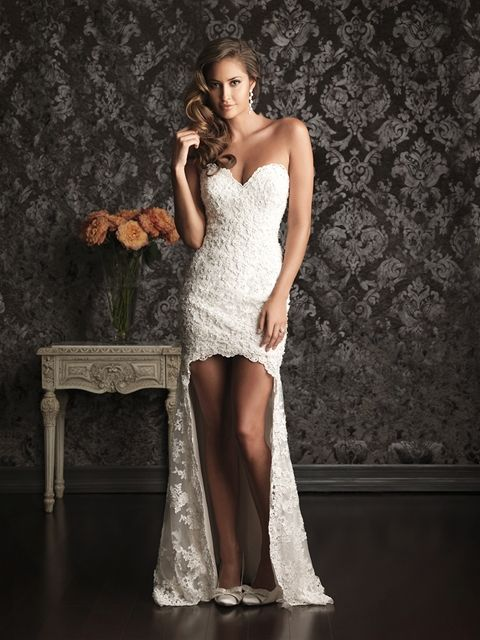 This is a new take on a high-low hemline. Allure Bridals: Style: 9008