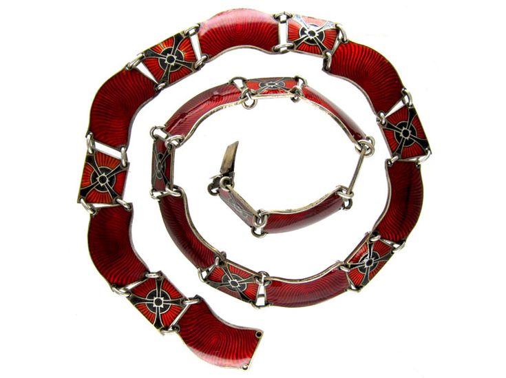 Red & Black Enamel Norwegian Silver Collar.  Retro (1940s)