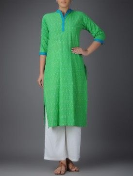 Green-Blue Ikat Mandarin Collar Cotton Kurta