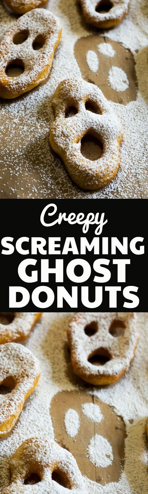 These Screaming Ghost Donuts Recipe are the perfect easy dessert for a creepy party this Halloween! They are so easy to make using refrigerated biscuit dough and are always a hit!