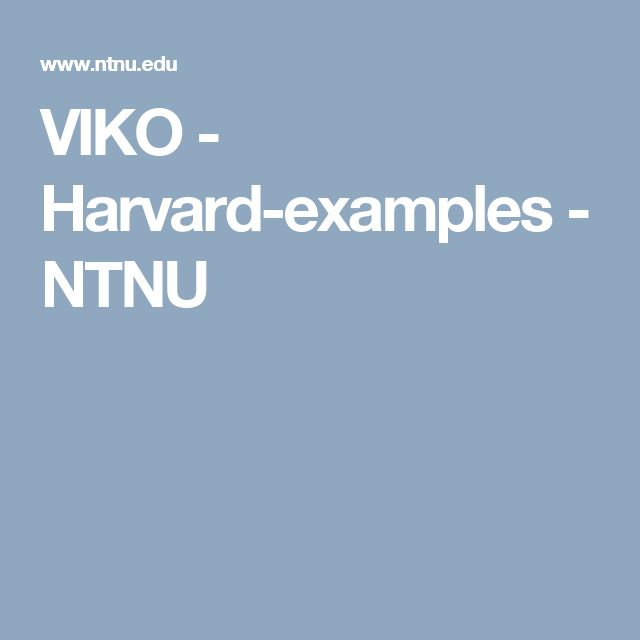 VIKO - Harvard-examples - NTNU