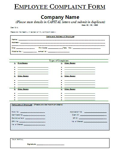 Sample Employee Complaint Form  Certificate Templates
