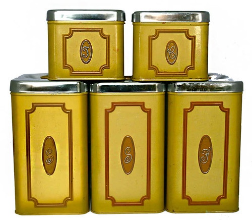 5 Vintage Retro Mid Century Kitchen Canister Set Canada Ekco Yellow Tin Chrome Sets Canisters