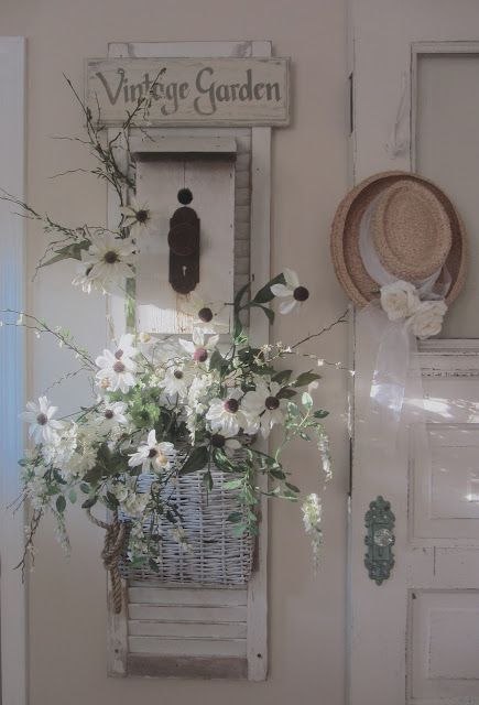 repurpose shutter: Chic Shabby French whitewash cottage decor