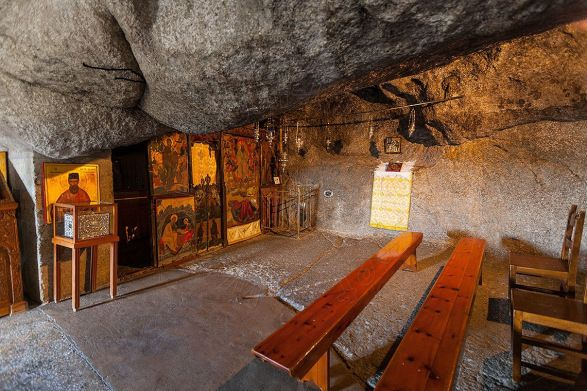 A look inside the Cave of the Apocalypse, Patmos, Greece.