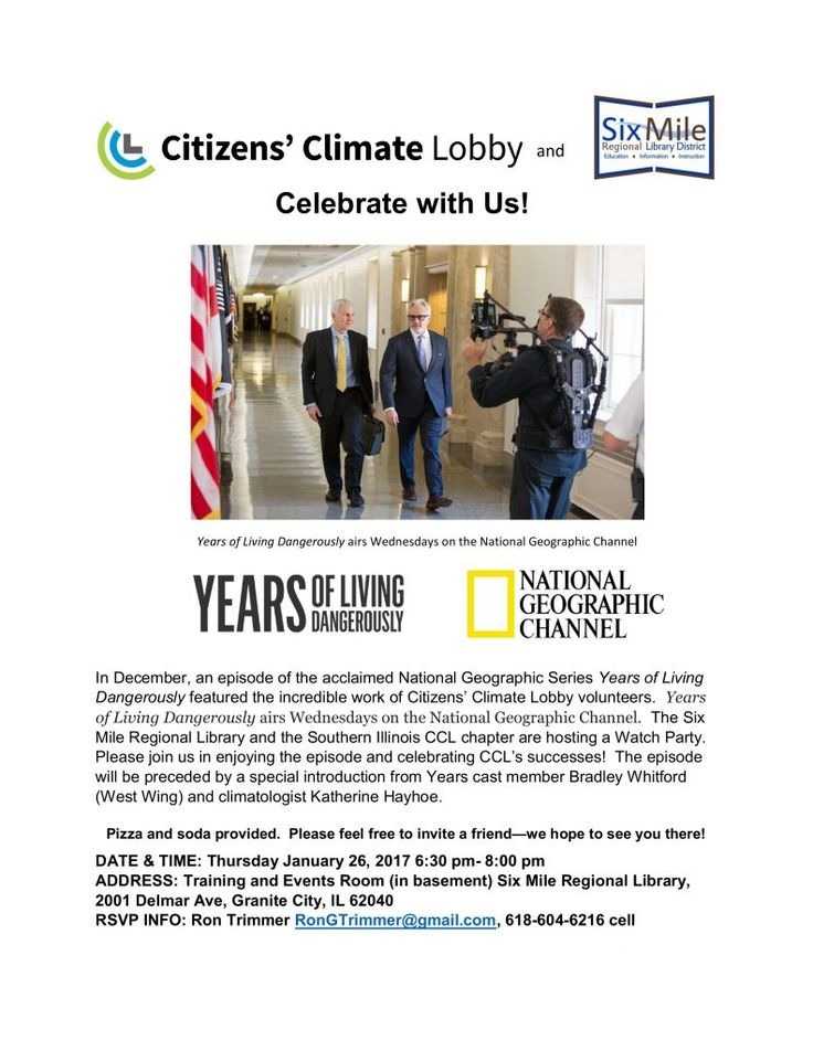 National Geographic Channel's Years of Living Dangerously Watch Party | Six Mile Regional Library District