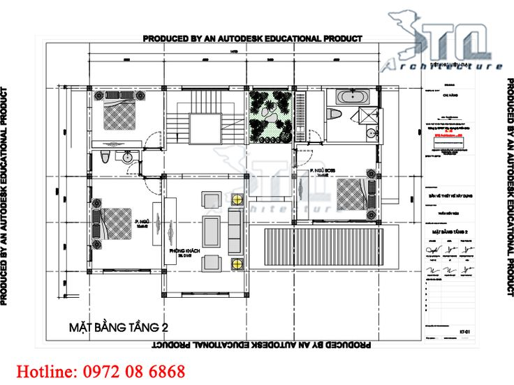 Mặt bằng tầng 2: Mẫu biệt thự hiện đại 3 tầng 6 phòng ngủ