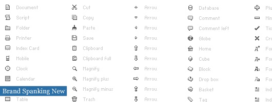 more lists of icons for web design