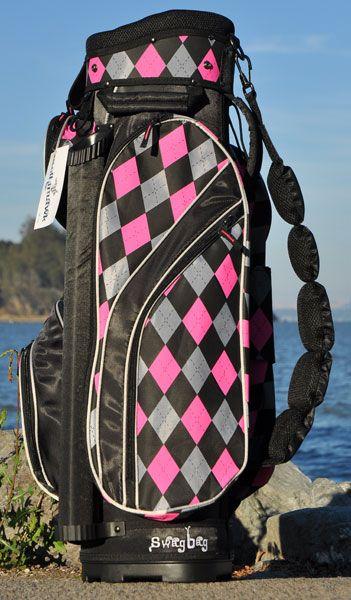 Molhimawk Ladies Swag Golf Cart Bags - Pink & Black Argyle