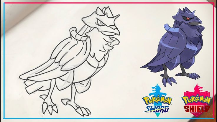 How To Draw Corviknight From Galar Region Drawings Pokemon Process Art