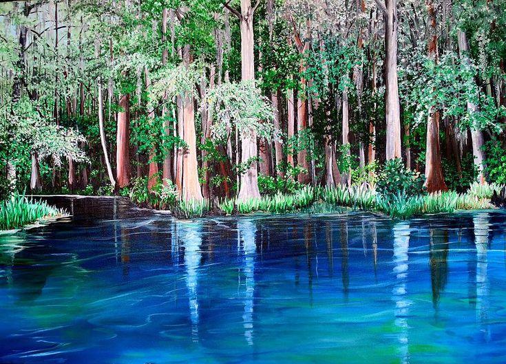 Ichetucknee Springs Fl Painting By Karin Kelshall