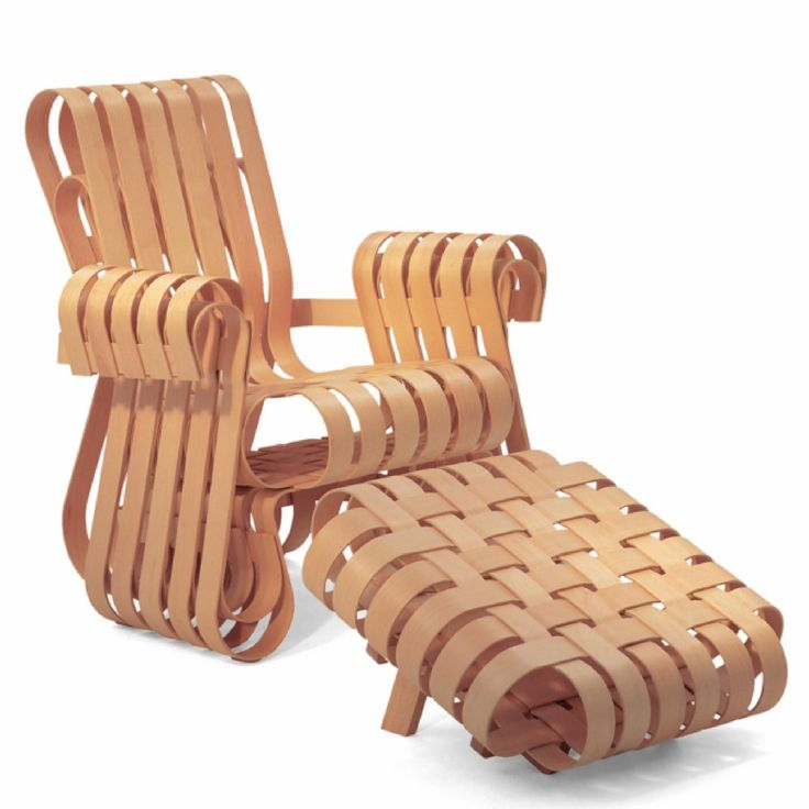 Gehry Power Play Club Chair With ribbon-like strips of wood that transcend the conventions of style by exploring the essential challenge of deriving form from function, Gehry's Power Play Club Chair w
