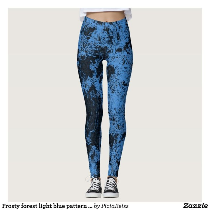 Frosty forest light blue pattern abstract design leggings