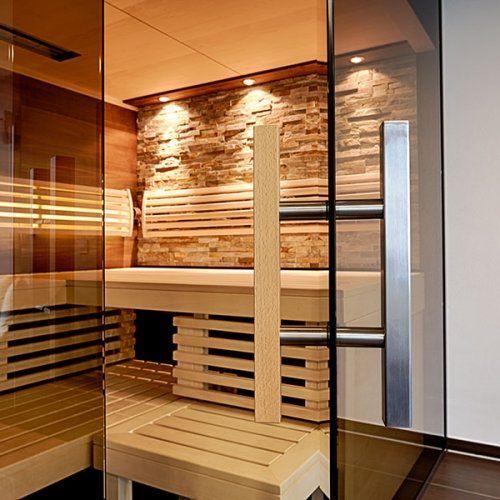 Sauna mit Thera-Med Infrarotstrahler - Kombination mit Stein, Holz und Glas