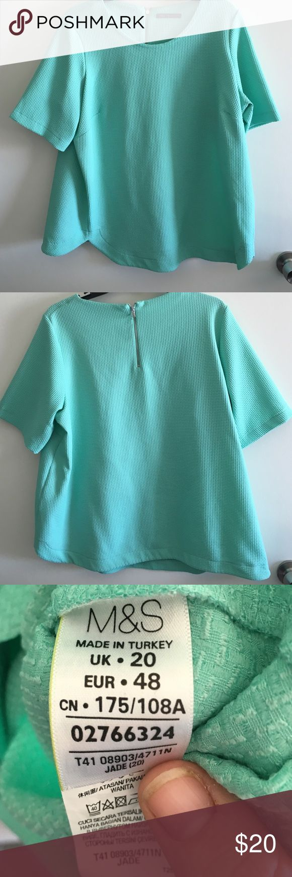 Marks & Spencer M&S Collection top Marks & Spencer M&S Collection jade top.  Purchased in Paris in February.   UK size 20, I would say is comparable to a US XL/xxl.  Has a very tiny smudge on the front. Marks & Spencer Tops Blouses
