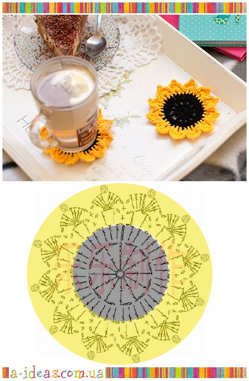 Crochet coasters Sunflower FREE PATTERN