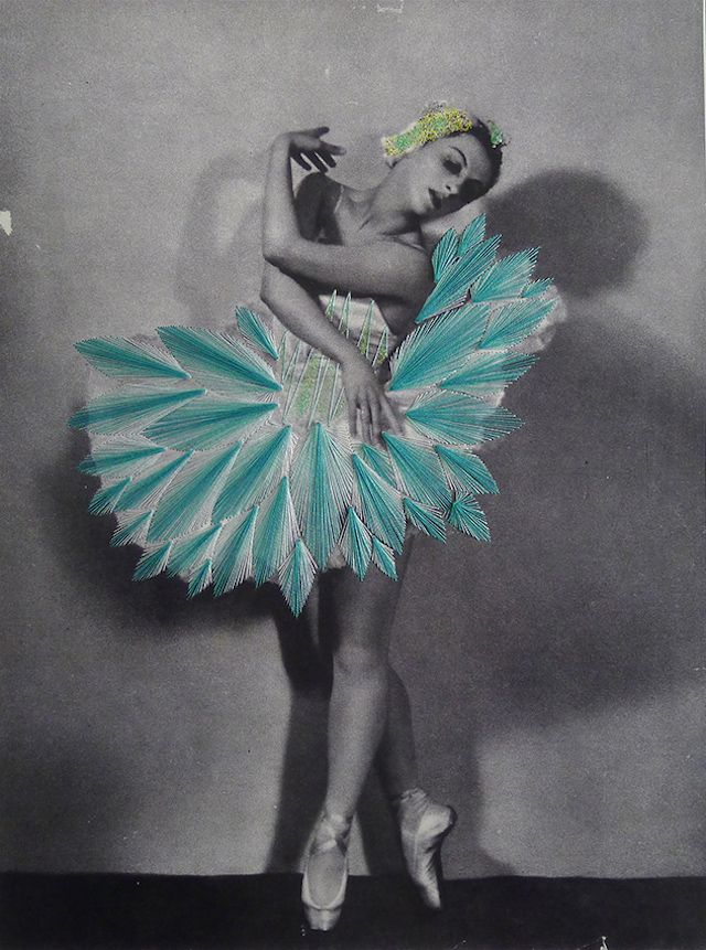 Chilean artist Jose Romussi, based in Berlin, makes very beautiful collages with black and white pictures from current fashion magazines or vintage dancers' photos. He dresses dancers and models with straight lines or flowered patterns, with a stroke of a needle and sewing threads.