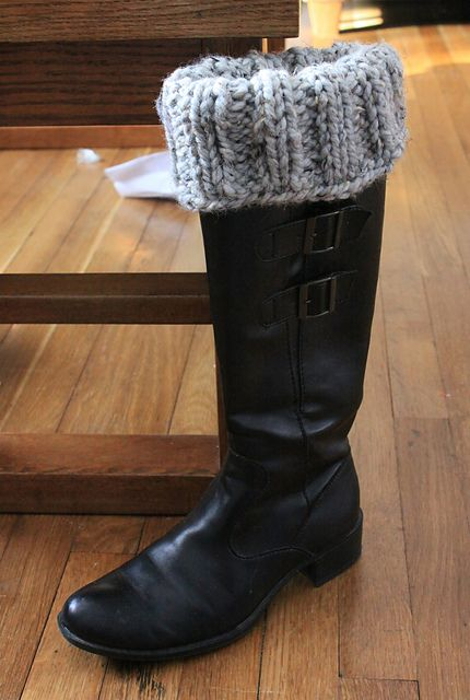 Simple boot cover (free) pattern from Ravelry using Wool-Ease Thick & Quick yarn