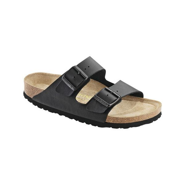 Birkenstock Arizona Soft Footbed Sandal - Black Synthetic Leather... ($110) ❤ liked on Polyvore featuring shoes, sandals and black