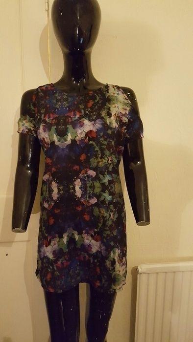 Multi coloured cold shoulder dress