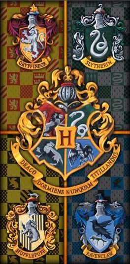 The Hogwarts crest and house crests