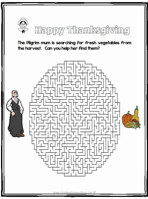 Free Thanksgiving Mazes, Instant Download, Print and Play