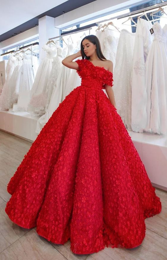 d464682563e A-Line Off the Shoulder Floor-Length Red Lace Prom Dress with Appliques