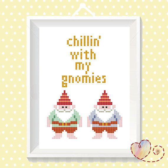 Funny Cross Stitch DIY Gangster Quote Gnomies by SundownStitcher