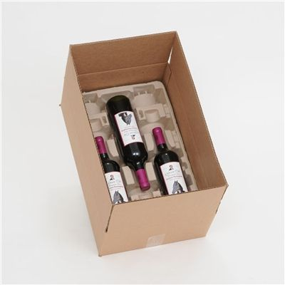 3 Bottle Molded Pulp Wine Shipper Box. Each Shipper includes 1 corrugated box and 2 Molded Pulp trays.  Meets ISTA-3A, FedEx and UPS testing requirements