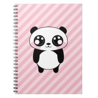 De leuke Panda draagt de Roze Achtergrond van Stre Notitieboek