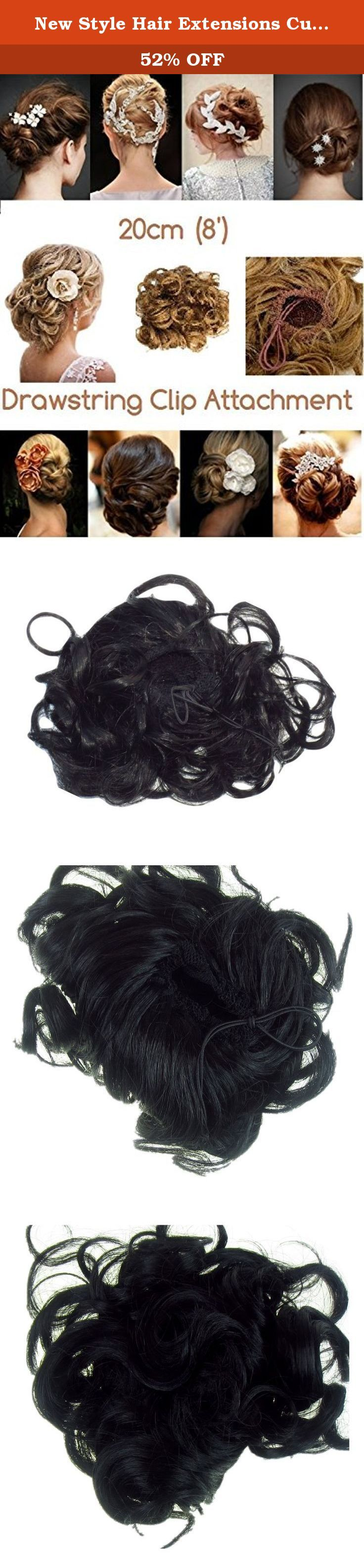 New Style Hair Extensions Curly Or Messy Drawstring Updo Full Bun Add Body Black Synthetic. Curly Up-do or Messy Bun -This appealing little messy bun can be styled in the classic Up-Do look . Or why not try the celebrity side bun look This type of faux bun is low maintenance and can be styled differently depending on the desired result. The bun can be styled to obtain an elegant and classic up do, appropriate for formal events or it can be styled to obtain a more casual side or back bun...