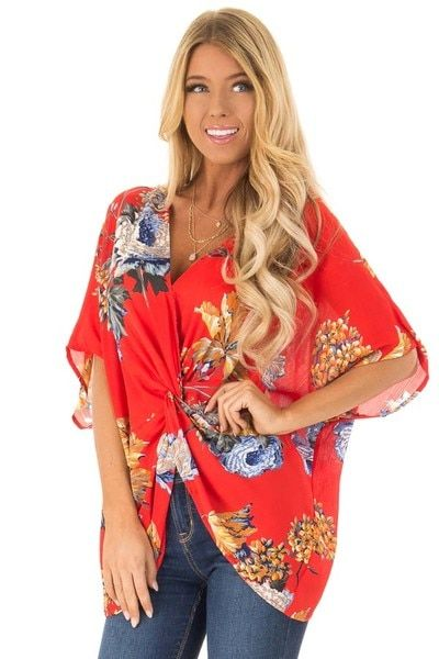0b4c003a86af1 Candy Red Floral Print Reversible Top with Twist Detail - Lime Lush Boutique