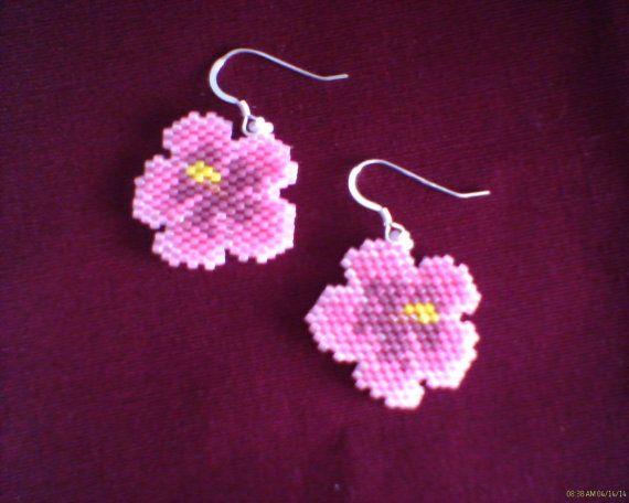Peyote stitch HIBISCUS Earrings Delica beads on Etsy, $12.00