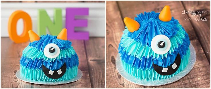 Monster Smash Cake - would be cute in girl colors.