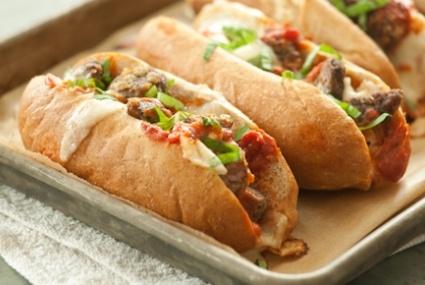 Baked Meatball Subs with Fresh Mozzarella