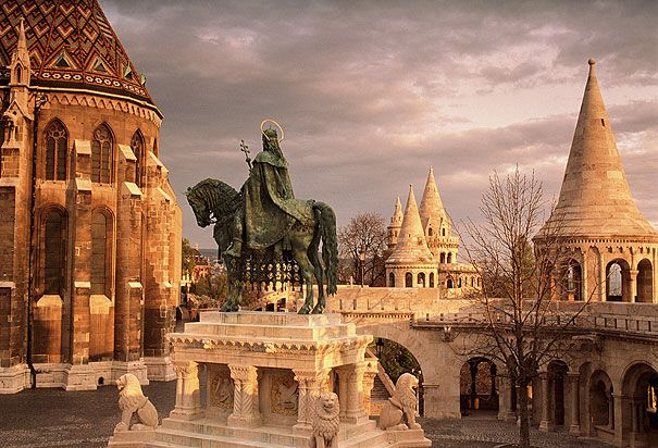 Budapest, Castle Hill, Fisherman Bastion, Statue of King Stephen, part of Mathias Church