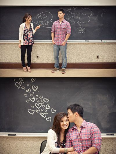 8 Engagement Engagement Shoot Theme Ideas ~ At School Engagement Shoot - This might be fun, since we're high school sweethearts :)