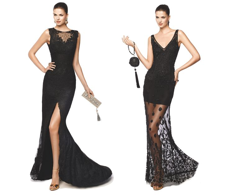 Vestito nero con accessori fucsia