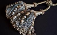 PAIR of VINTAGE FRENCH SILK DOUBLE TASSEL CURTAIN TIE BACKS Beige French Blue