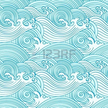 Japonaise modèle homogène des ondes dans les couleurs des océans Banque d'images