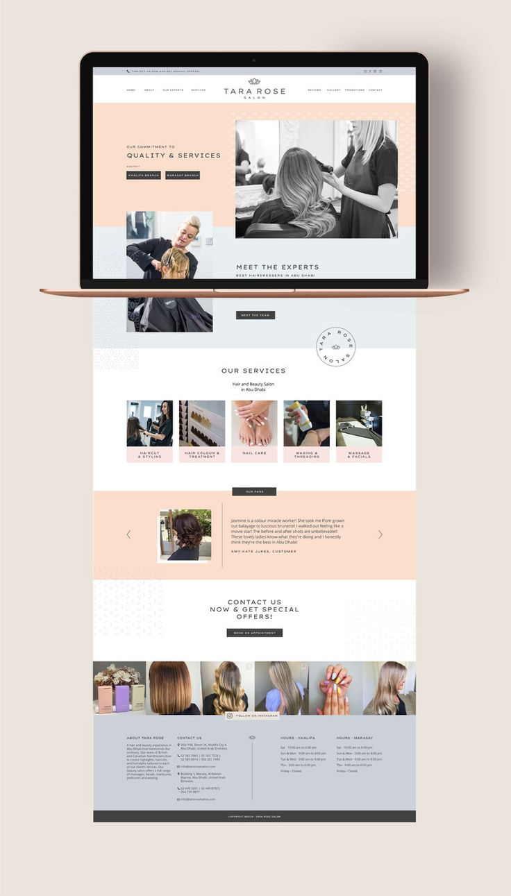 Tara Rose Salon January Made Design Websites Branding Graphic Design Mockup Portfolio Website Design Website Mockup
