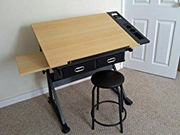 Two Drawers Tiltable Tabletop Drawing Table with Stool: Amazon.co.uk: Kitchen & Home