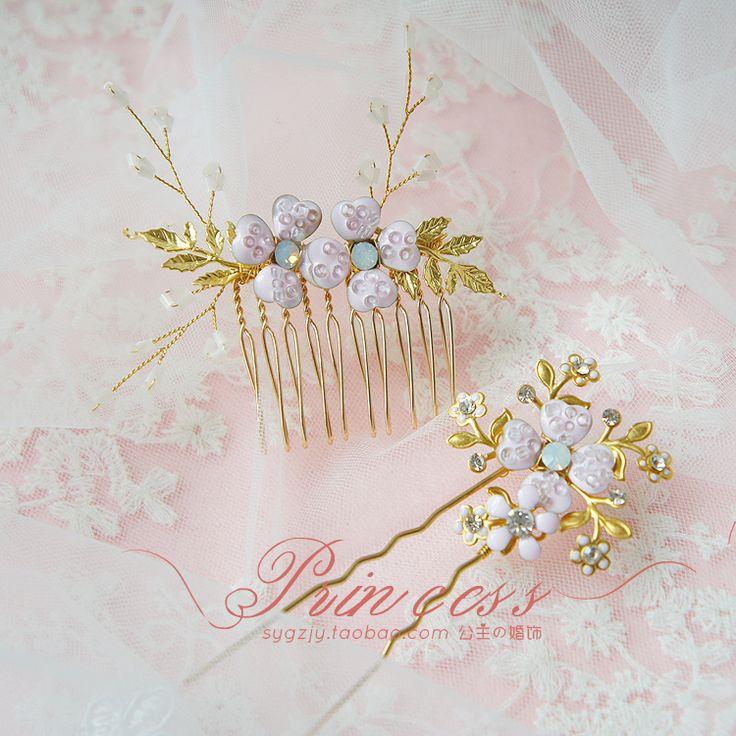 Дешевые ручной работы ретро золотой рис розовые цветы сделать аксессуары для волос ювелирные изделия свадебный свадебный старая группа волосы Европа - Taobao