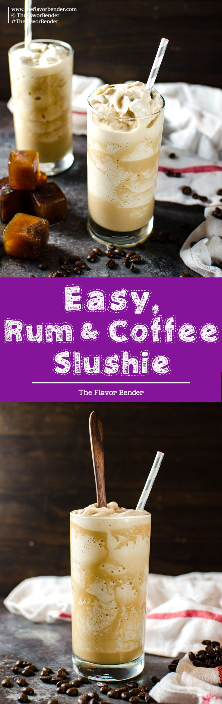 Rum Coffee Slushie - Learn how to make coffee slushies, with tips on making perfect coffee slushies, and how to customize it for you! I love making mine a boozy coffee slushie, with the perfect amount of rum! via @theflavorbender