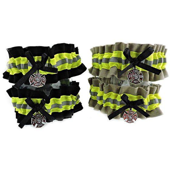 FIREFIGHTER Wedding garters Lime green Garter set fireman garter
