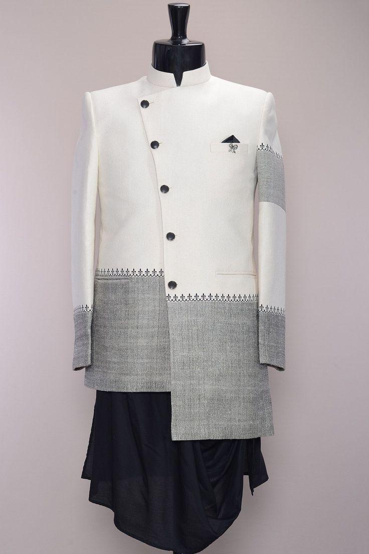 Off White Thread Embroidered Jute IndoWestern Sherwani-IW1043