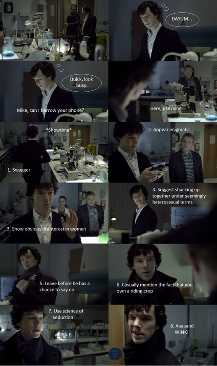 Casually mention the fact that you own a riding crop.....'How to Get The Attention of a Hot Army Doctor' by Sherlock Holmes. I love this so very much